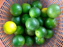 A basket of limes. A close up shot of a basket of limes taken at a local market in Selangor Royalty Free Stock Photography
