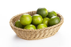 Basket of limes Royalty Free Stock Photos