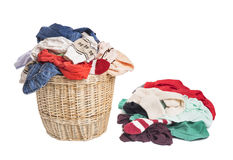 Basket with linen for laundry. Royalty Free Stock Photography