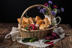 Basket With Little Pies Stock Photo