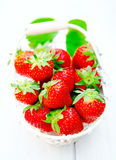 Basket of luscious ripe red strawberries Stock Photos