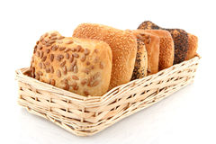 Basket with luxury bread rolls Stock Photography