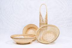 Basket made of bamboo. Basket made of bamboo on white background Royalty Free Stock Image