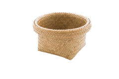 Basket made from bamboo on a white background. Stock Images