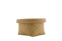 Basket made from bamboo on a white background. Royalty Free Stock Photos