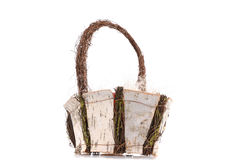 Basket made from birch i Royalty Free Stock Photos