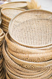 Basket made of interwoven bamboo. For sale Royalty Free Stock Image