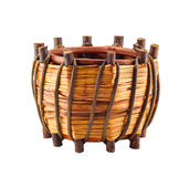 Basket made from twigs Royalty Free Stock Photos