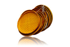 Basket made of wicker isolated on white background. Stock Image