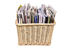 Basket with magazines Stock Images