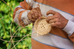 Basket-maker creates a new basket Stock Photography