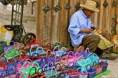 Basket Maker, Tlacolula market Mexico Stock Photography