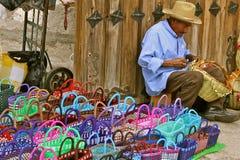 Basket Maker, Tlacolula market Mexico. Old mexican basket maker at Tlacolula market Stock Photography