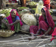 Basket makers - Udaipur - India. Indian basket makers in a market in Udaipur in Rajasthan in western India Royalty Free Stock Photography