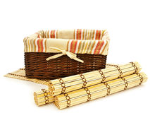 Basket and mats Royalty Free Stock Photo