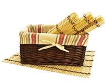Basket and mats Stock Photos