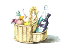 Basket with meal. Basket with tasty and useful food Stock Photography