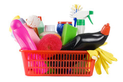 Basket with means for cleaning Royalty Free Stock Photos