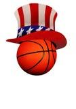 Basket med hatten för Uncle Sam Arkivbilder