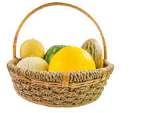 A Basket of Melons Stock Photo
