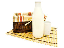 Basket and milk Stock Photography