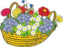 Basket of miscellaneous flowers Royalty Free Stock Image