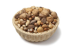 Basket with mixed nuts Royalty Free Stock Photography