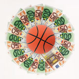 Basket and money Stock Image