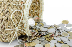 Basket with money on isolated background Stock Images