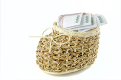 Basket with money on isolated background Royalty Free Stock Images