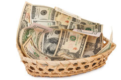 Basket with money Stock Image