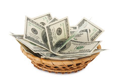 Basket with money Stock Photos