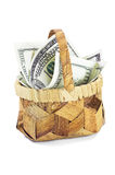 Basket with money Royalty Free Stock Image