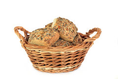 Basket of Multi Grain Bread Rolls Stock Photography