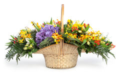Basket with multicoloured flowers stock photography