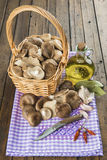 Basket with mushrooms and ingredients for cooking Royalty Free Stock Photography
