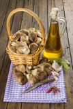 Basket with mushrooms and ingredients for cooking Stock Image