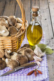 Basket with mushrooms and ingredients for cooking Royalty Free Stock Image