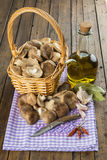 Basket with mushrooms and ingredients for cooking Royalty Free Stock Photo