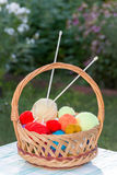Basket with  needles and knitting Stock Photography