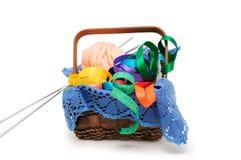 Basket of needlework Stock Photos