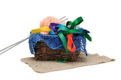 Basket of needlework Royalty Free Stock Photography