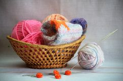 Basket for needlework Royalty Free Stock Photos