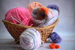 Basket for needlework Royalty Free Stock Photo