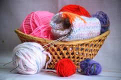 Basket for needlework Royalty Free Stock Photography