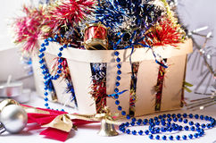 Basket with new year toys Royalty Free Stock Photo