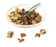 Basket with nut mix. On white background Royalty Free Stock Photo