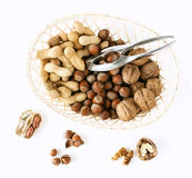 Basket with nut mix. On white background royalty free stock images