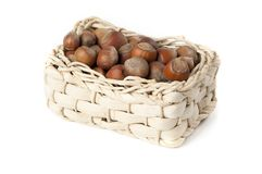 Basket with nuts Royalty Free Stock Photos