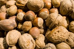 A basket of nuts. A close-up of a basket of various nuts Stock Image